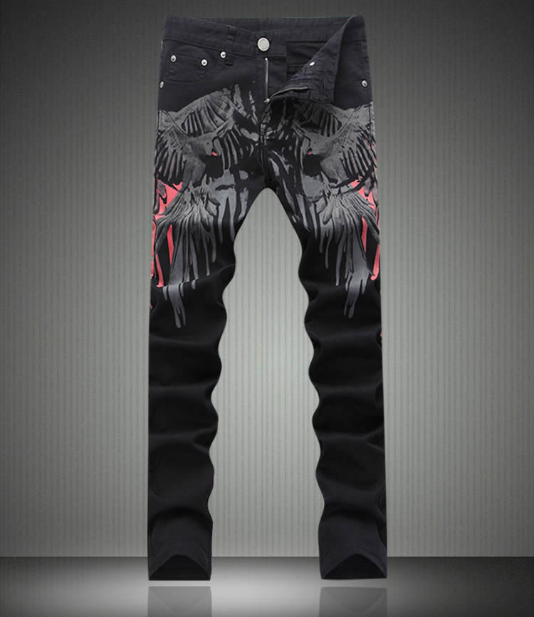 ФОТО   Fashion New Novelty Animal Wing Print Denim Trousers Man Black Slim Jeans
