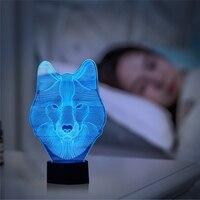 LAIDEYI Zwierząt Wilk 3D DOPROWADZIŁY Gwiazdkowa Noc Kolorowe Atmosfera Lampa Stołowa Nastolatek Wilk Illusion Światła Sypialni Nowoczesnej Dekoracji Światła