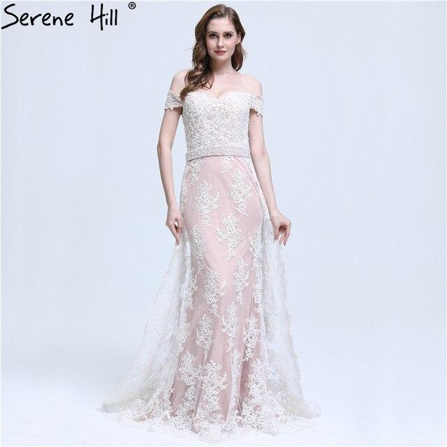 61c6b6c8019 Elegant Off Shoulder Lace Mermaid Evening Dresses 2018 New Arrival Pearls  Sash Party Gowns Robe De Soiree Formal Dress BLA6398