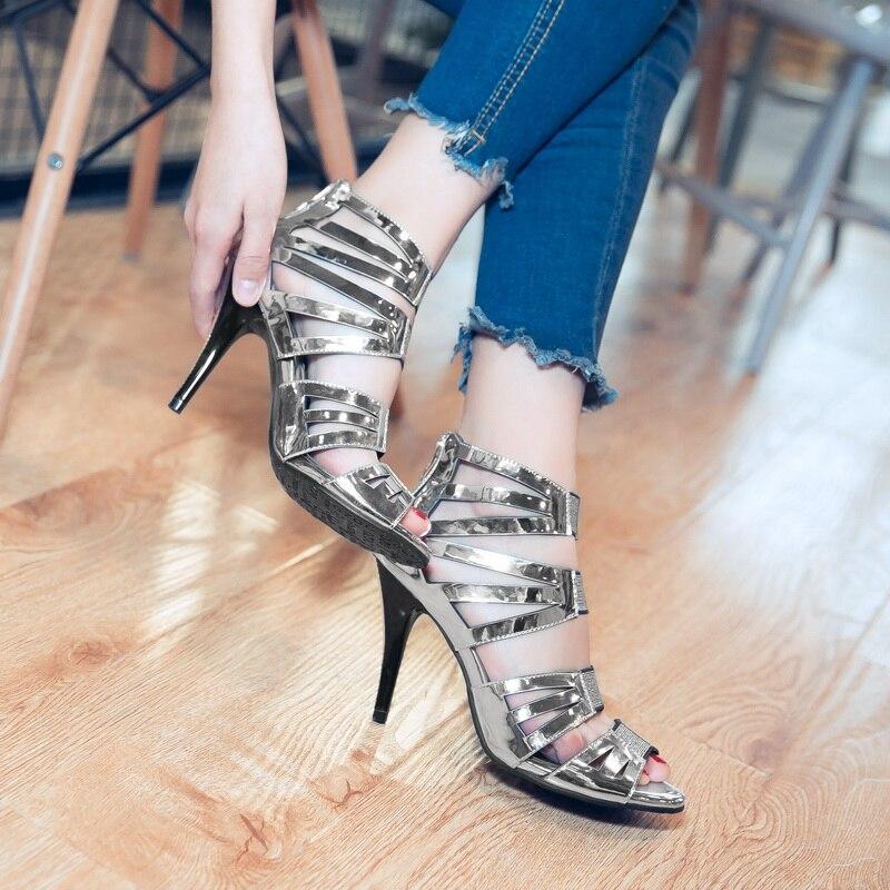 2017 Oro Botas 2 Tamaño Moda Femenino Nuevas Señora lavanda Mujeres Color Zapatos 34 Grande Señoras gun Tacón Sandalias Fresco plata Sapato Bombas 44 18 FcaFnqrH
