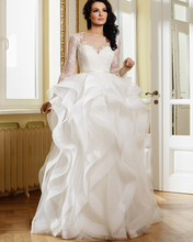 Ruffles Tulle Ball Gown Wedding Dress Long Sleeve Sheer Neck Button Back Floor Length Princess Bride Bridal Gown