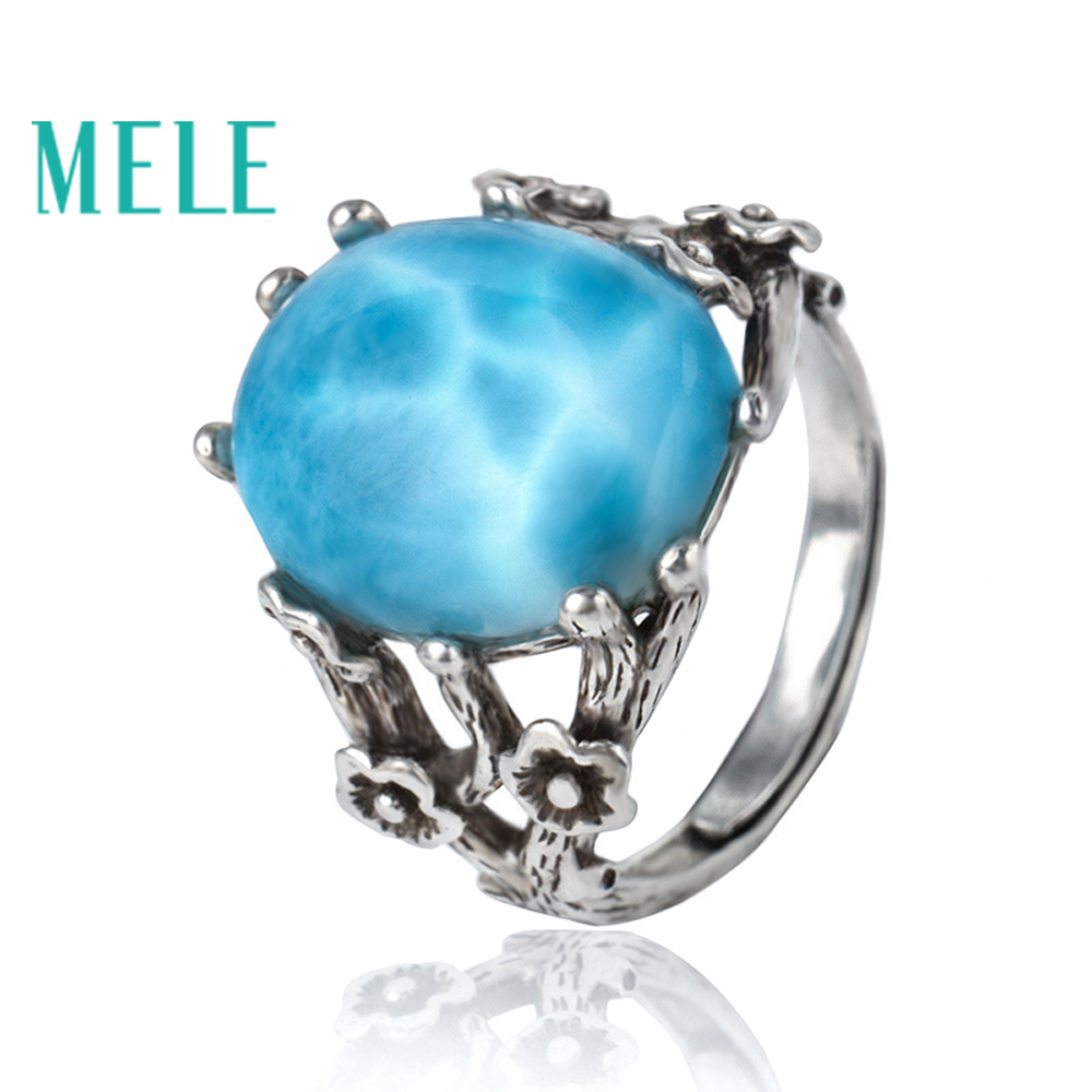 Blue natural larimar silver 925 rings for women,classical oval gemstone jewelry,vintage style with flowers big stone larimar rings woman ladies engagement rings with natural larimar gemstone 925 sterling silver jewelry gift for her