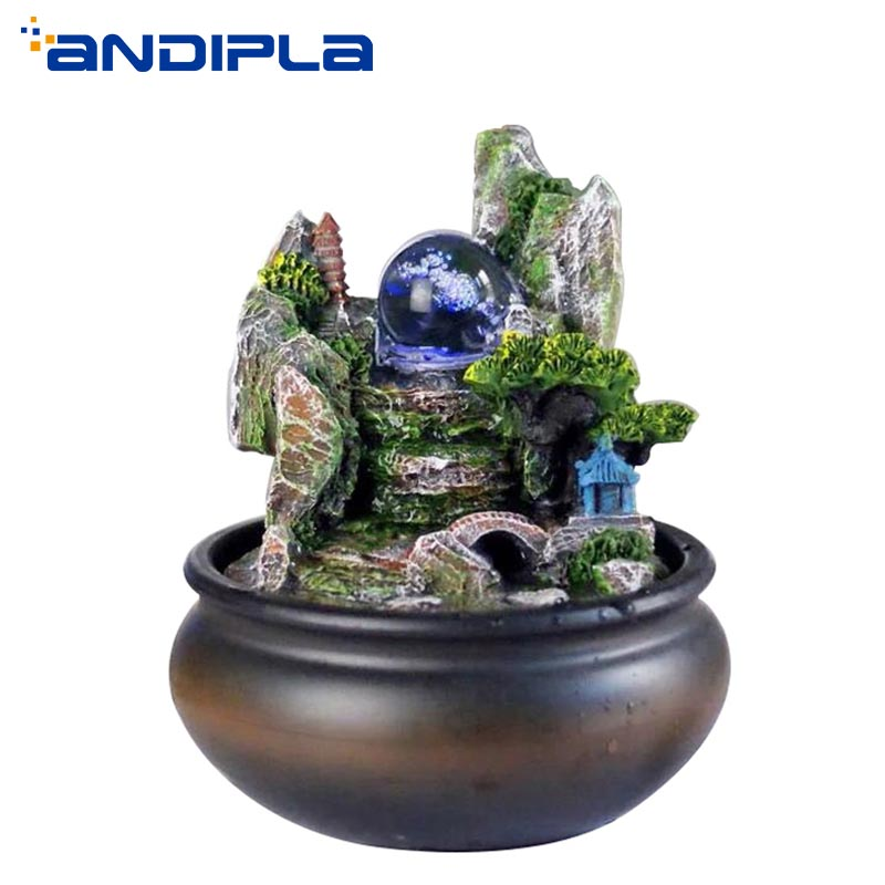 Modern Water Fountain Crystal Ball Rockery Micro Landscape LED Tabletops Feng Shui Lucky Living Room Office Creative Home Decor