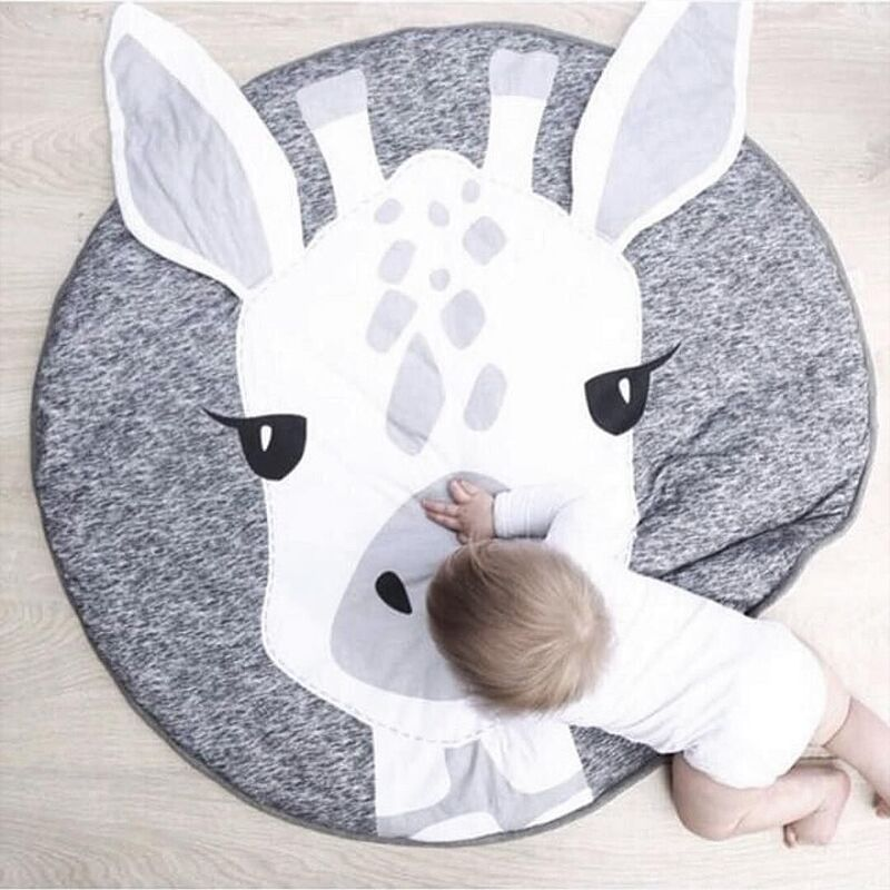 купить 90CM Baby Play Mats Carpet Kids Room Giraffe Lion Animal Soft Cotton Crawling Mats Round Floor Rug Playmats for Baby Gym Mat онлайн