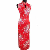 Fashion Trends Red Chinese Traditional Dress Women Silk Rayon Cheongsam Top Sexy Long Dripping Qipao Floral