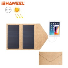 HAWEEL 14W Foldable Solar Panel Charger with 5V / 2.1A Max Dual USB Ports Portable Travel Powered
