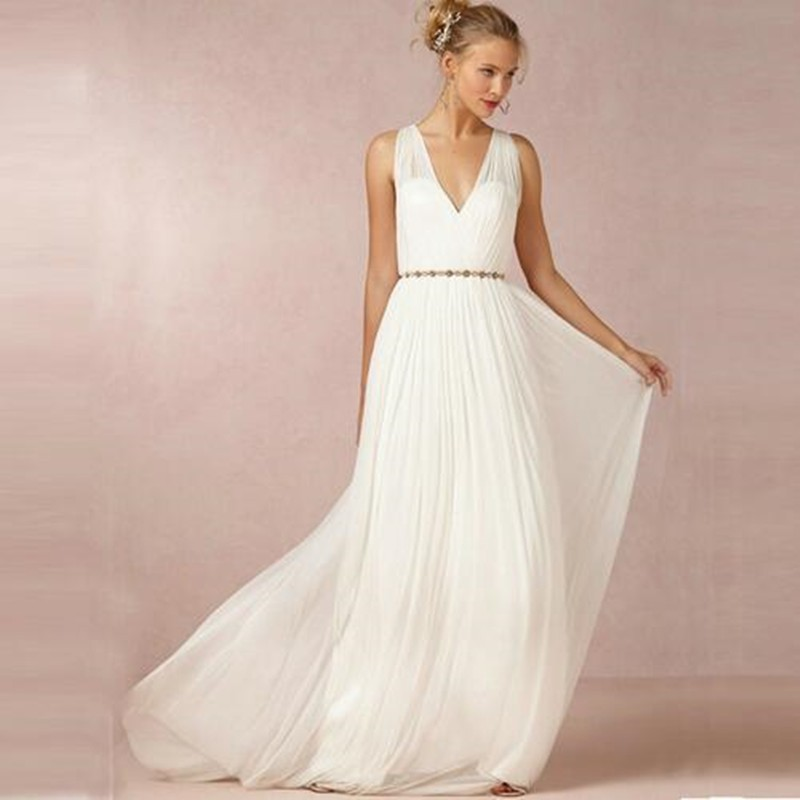 2016 new backless v neck chiffon long wedding dresses boho beach greek style wedding gowns 2016