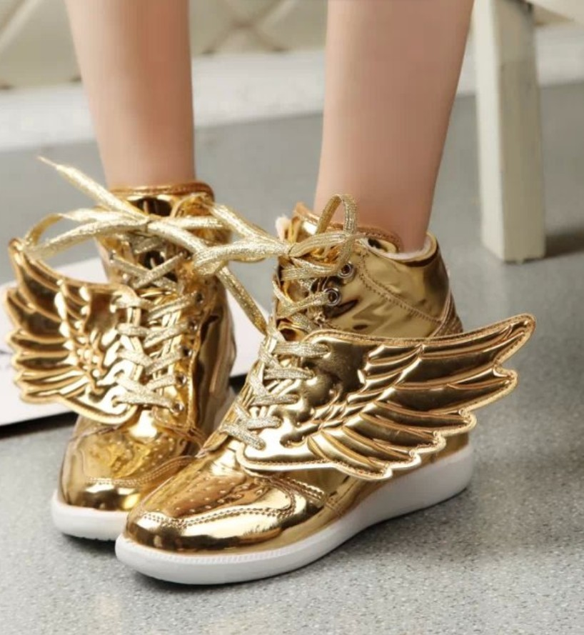 gold silver cute cartoon angel wing butterfly student women casual shoes high top ankle boots patent leather lace up booties