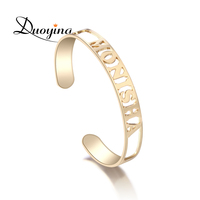 DUOYING Hollow Name Bangle 8 Mm Width Hollow Bar Bracelet Custom Name Personalized Bracelets Jewelry For