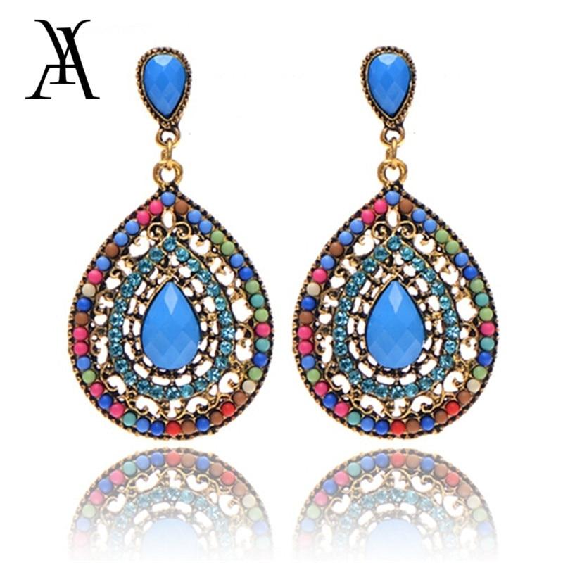 AY Vintage Water Drop Resin Dangle Earrings for Women Girls Bohemian Handmade Glue Crystal Drop Earring Fashion Jewelry 2019