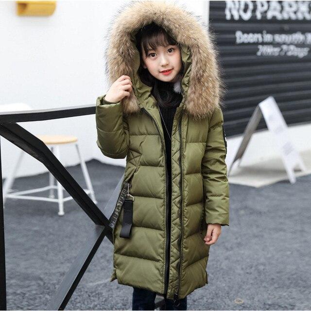 120-160 Пуховики и парки для мужчин для Зимнее пальто для девочек модные толстые теплые длинные белая утка Пух куртка для девочек Детская верхняя одежда Высокое качество