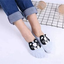 Dog Design Ankle Sock Slippers for Ladies