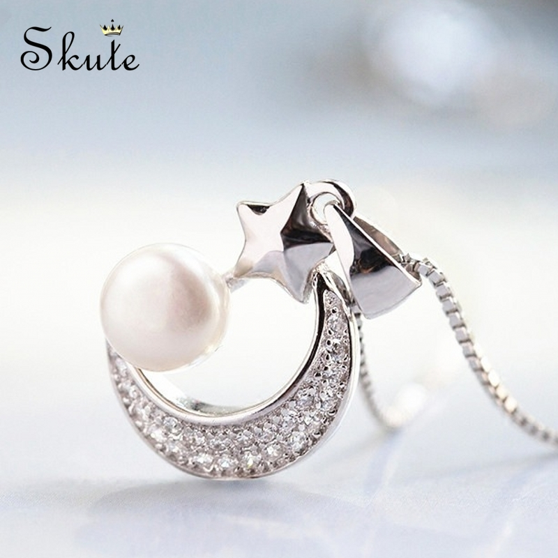 Skute Exquisite Crystal Moon Star Pendant for Women Temperament Simple Imitation Pearl Necklace Without Chain Party Jewelry Gift(China)