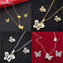 Yiustar Cute Butterfly Minnie Earrings for Women Kids Animal Butterfly Steel Necklace & Pendant Jewelry Set Girls Birthday Gifts(China)