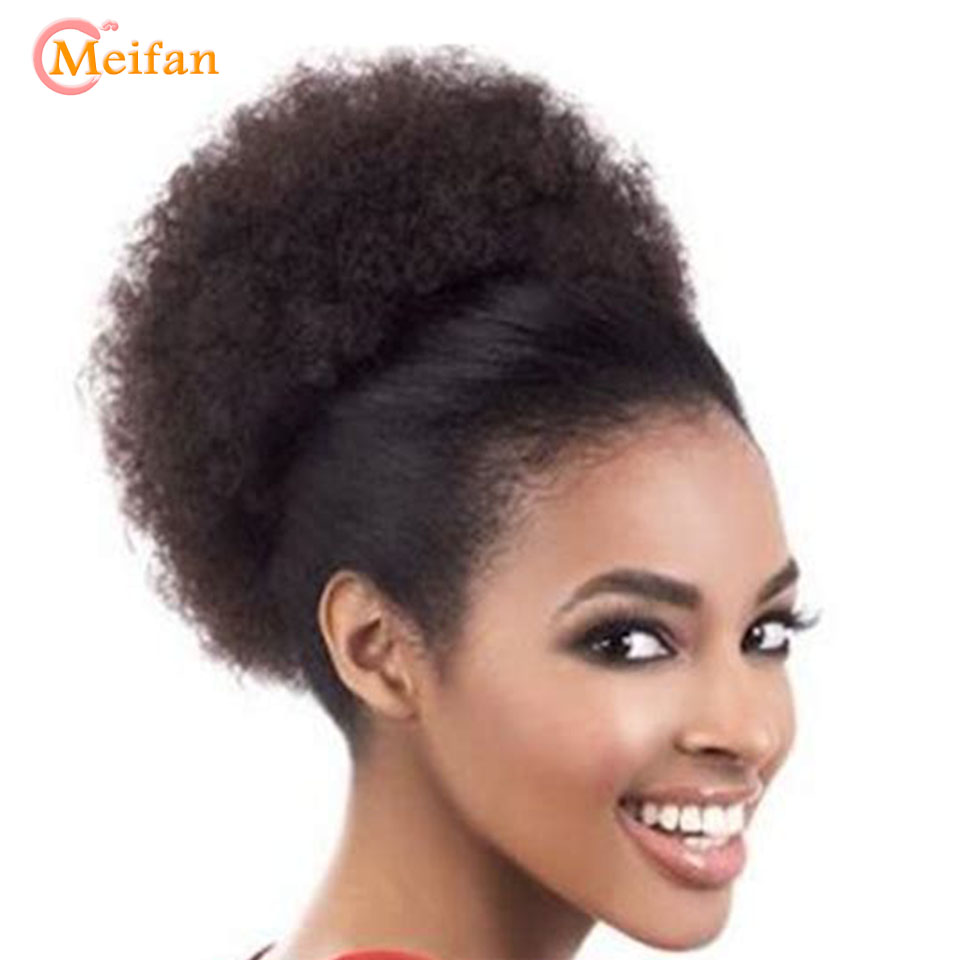MEIFAN Short Curly Chignon With Drawstring Wrap In Ponytail Hairpiece Hair Extensions Synthetic African Hair Bag For Women