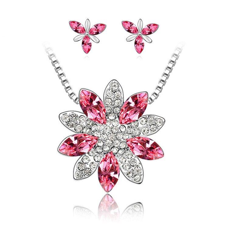 Fashion Snowflake austrian crystal nacklace earrings Jewelry schmuck Set Gift for woman wedding accessories jewellery conjunto