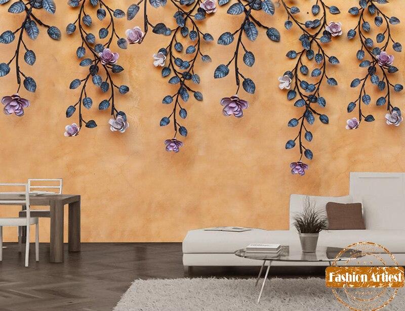 Custom summer peace flower floral wallpaper mural romantic purpose rose of love tv sofa bedroom living room cafe bar restaurant