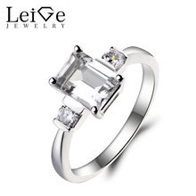 Leige Jewelry Natural White Topaz Ring Topaz Engagement Ring November Birthstone Emerald Cut Gemstone 925 Sterling Silver Gifts