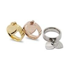 Anillo персик fine известная тег сердца очарование bijoux люкс любовь двойной