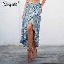 1826e568d9 Simplee Flower print boho long skirt Asymmetrical ruffle tie up wrap skirt  women 2018 Summer beach maxi skirt