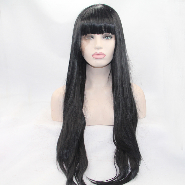 Fantasy Beauty Black Wig 24 inches Full Long Straight Hair Wig With Bangs  for Women Heat Resistant Synthetic Fringe Women s Wig 3c66ca2e9