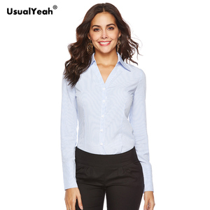 Image 2 - UsualYeah New Women Formal Shirts Long Sleeve Body Shirt Turn down Collar V Neck OL Shirts and Blouses Striped white blue S 4XL