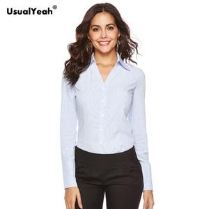 Image 2 - Usualyeah novas camisas formais femininas manga longa corpo camisa turn down colarinho v pescoço ol camisas e blusas listrado azul branco S 4XL