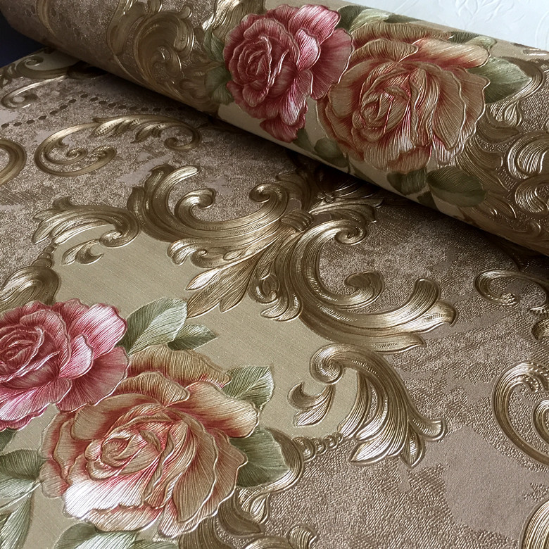 European Style PVC Waterproof Wallpaper Living room Bedroom Background Flower Wall Paper Roll Blue Coffee european style pvc waterproof wallpaper living room bedroom background flower wall paper roll blue coffee