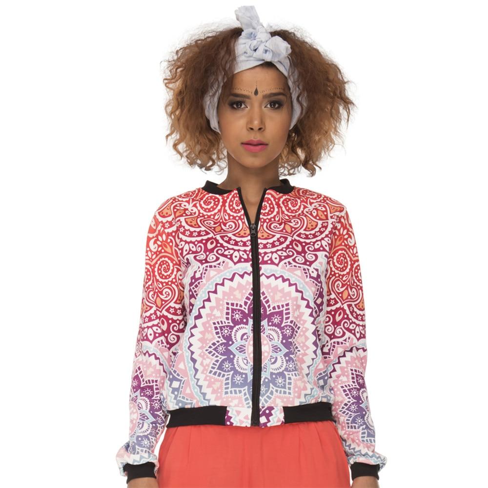 Hot Sales Women Bomber Jacket Mandala Aztec Round Ombre Printing Jaqueta Feminina Fashion Slim Basic Jacket for Woman