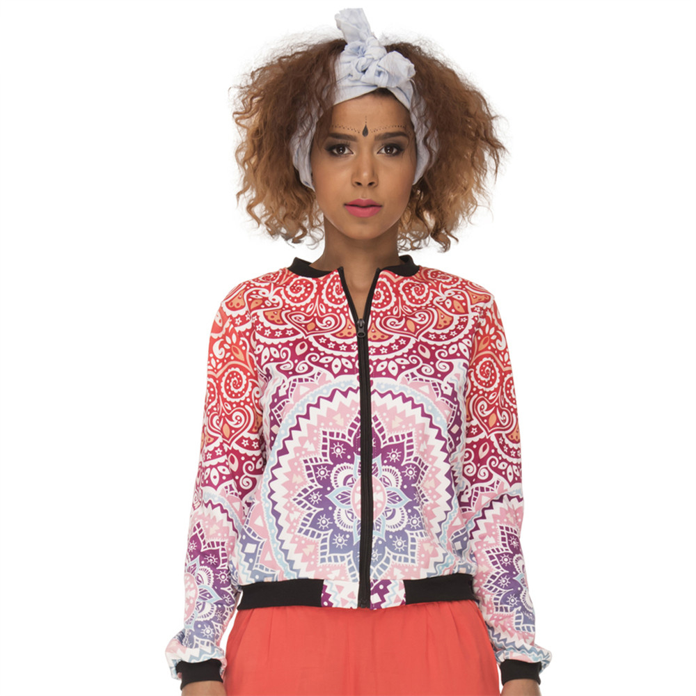 Hot Sales Women Bomber   Jacket   Mandala Aztec Round Ombre Printing Jaqueta Feminina Fashion Slim   Basic     Jacket   for Woman