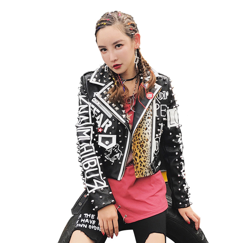 Trendy Girl Punk Rock Leopard Leather Jacket Personality Badge Thailand Rivet Motorcycle Coat Short Women Fashionable Outerwears