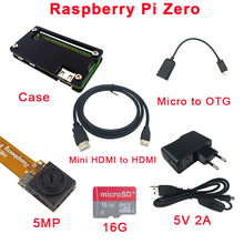 Raspberry Pi Zero Camera + Acrylic Case + 16 G SD Card +5V 2A Power Adapter + Micro USB to OTG Cable + Mini HDMI to HDMI Adapter
