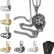 Granny Chic Gold Color Charms Necklace Rock Punk Style Men/Women Vintage Jewelry Lion Stainless Steel Chain Necklaces & Pendants