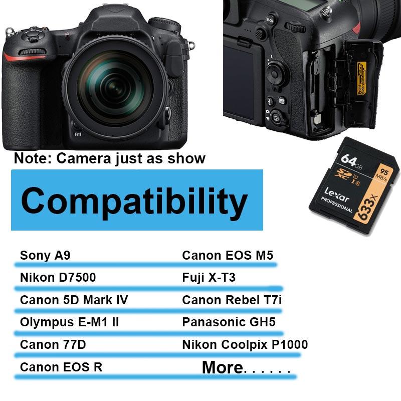 Lexar Professional SD Card 32GB 64GB 128GB 256GB 633x UHS-I Class 10 U3 V10 up to 95MBs read 70MBs write SDHC SDXC Memory Card (6)
