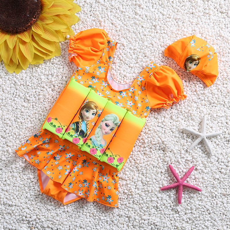 Kids Girl Sun Protection Floating Buoyancy Swimsuit 1 Piece Swimwear Children Learning Swimming Dress Dress Swimsuit