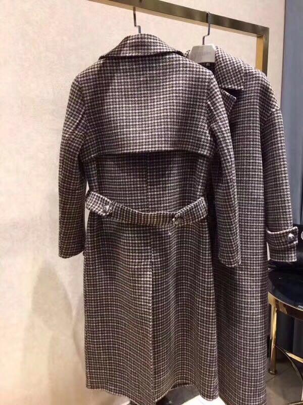 En Tempérament Tranchée Slim Cachemire Veste Double Hiver Mode Femmes Boutonnage À Manteau Carreaux Longue Rq4EZ