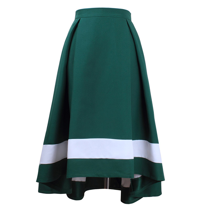 HSPL Women Vintage Skirt With High Waist Pleated 2018 Fashion Elegant Skirts With Zipper Behind Saias na altura do joelho