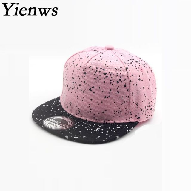 Yienws Kpop Straight Cap Boys Girls Pink Full Cap Hat Baseball Kids Summer  Gorras Planas Snapback Hip Hop Cap Childrens YIC021 ea01a7eda01