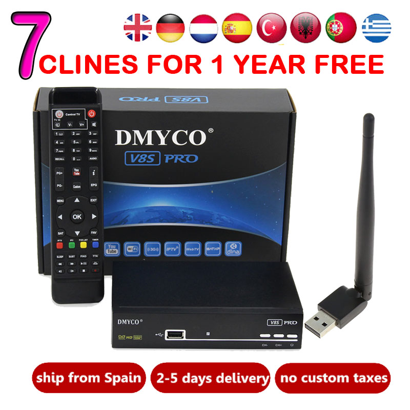 V8S PRO Satellite TV Receiver decoder V7 usb wifi DVB-S2 with 7 lines Europe C-line account support powervu Receptor OK V8 SUPER satellite tv receiver freesat v7 atsc s2 combo usb wifi universal ku lnb support iptv powervu biss cccam for north america