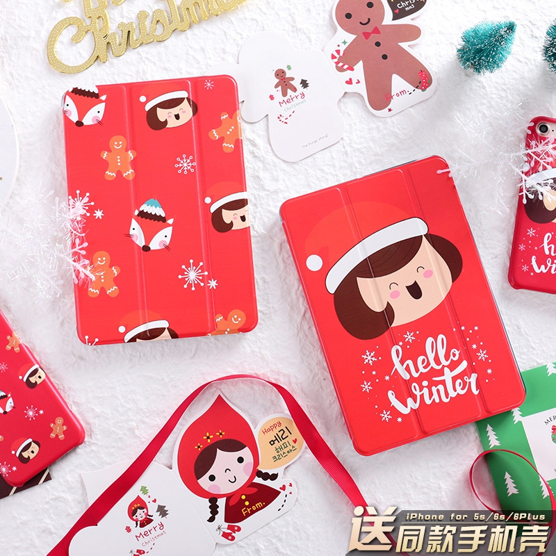 Christmas Girl Magnet PU Leather Case Flip Cover For iPad Pro 9.7 10.5 Air Air2 Mini 1 2 3 4 Tablet Case For New ipad 9.7 2017 personal magnet pu leather case flip cover for ipad pro 9 7 10 5 air air2 mini 1 2 3 4 tablet case for new ipad 9 7 2017 a1822