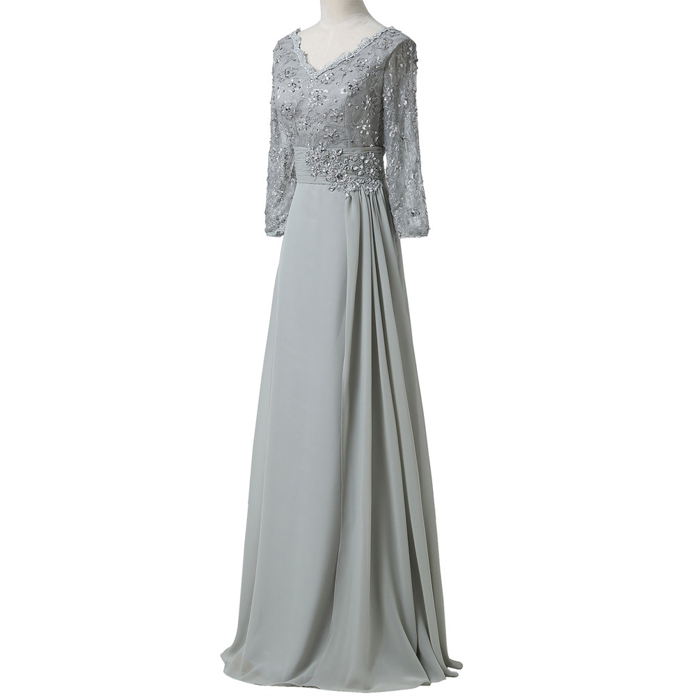 Grace Karin Chiffon Lace Mother of the Bride Dresses 3/4 Sleeve Double V Neck Floor Length Grey Beading Formal Mother Prom Dress 11