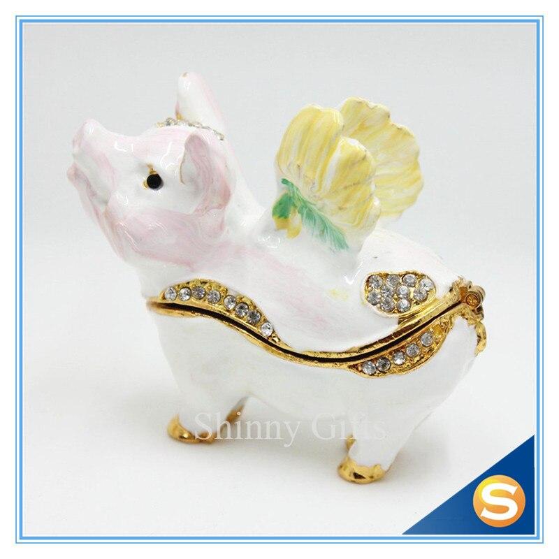 ̿̿̿(•̪ )Cute Flying cerdo caja de la baratija caja de la joyería ...