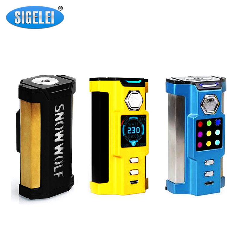 New Design Sigelei Snowwolf Vfeng Mod Electronic Cigarette Vape Mod 510 Thread 230W Box Mod Without 18650 Battery sigelei 150w vv vw 150watts mod 18650 vape kanger subtank aspire sigelei 150w box mod