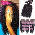 7aMink Pervian Virgin Hair With Closure Peruvian Kinky Curly Virgin Hair With Closure 4pcs Ms Lula Hair With Closure And Bundles