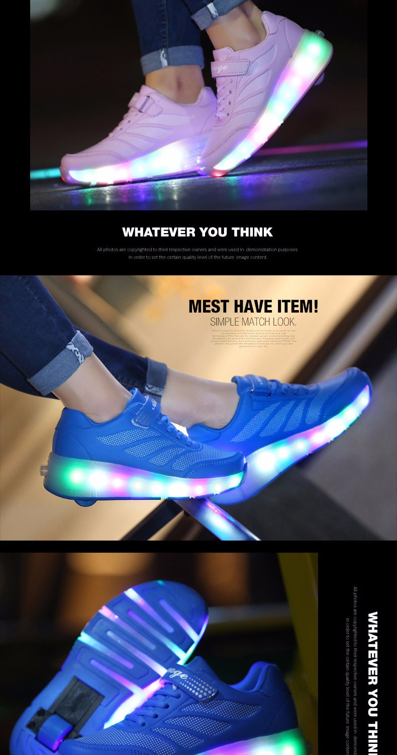 tenis de led infanti Kids Roller Shoes Boys Girls Light Up Glowing Sneakers with Wheels High Quality Popular 4