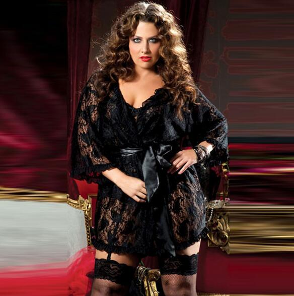 Sexy Lingerie Women Plus Size Sexy Erotique Bathing Robe Costumes Women Sexy Lace Perspective Underwear Disfraz Sexy CE400