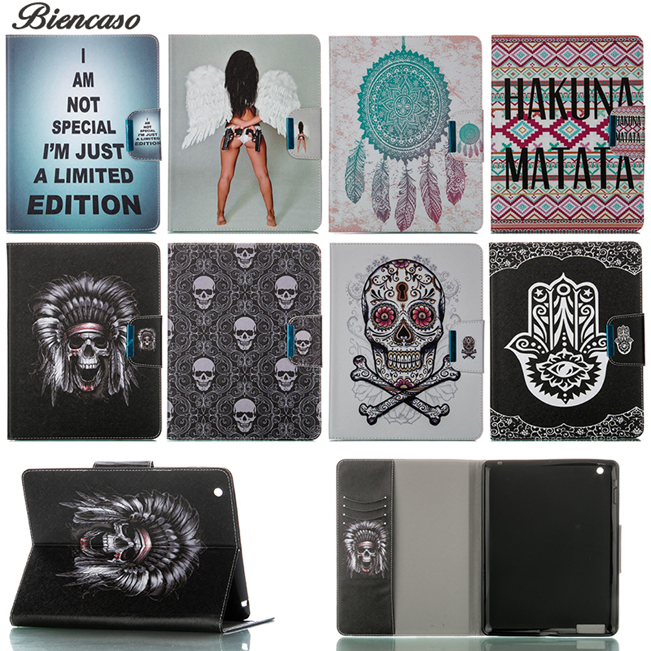 """Skeleton Case for iPad 4 3 2 9.7"""" inch Magnetic With Stand PU Leather Cover for iPad2 iPad3 iPad4 Skull Coloured Painting Case"""