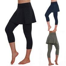 Женская Повседневная юбка, леггинсы, брюки для тенниса, спорта, фитнеса, укороченные брюки, спортивная юбка, брюки#4M15