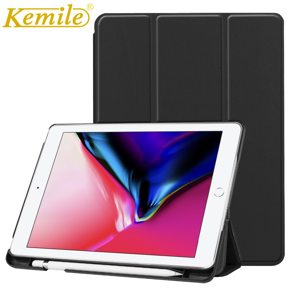 Kemile Case For New iPad 2018 PU Leather Slim Smart Case W Pencil Holder Wake Sleep Cover For New iPad 2018 9.7 Case A1893 A1954