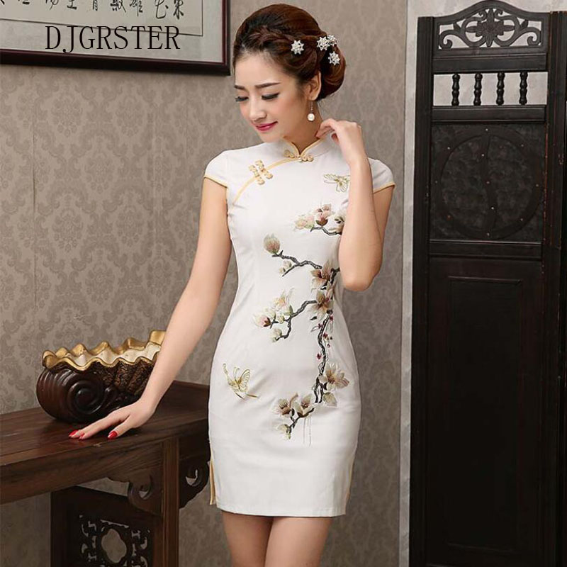 DJGRSTER Chinese style Embroidery Cheongsam Dress Women Qipao Short Chinese Traditional Dress Short Sleeve Cheongsams